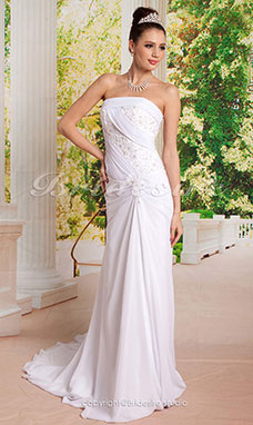 Corte Recto/ Column Flare y Drapeado Lateral Fit Vestidos de Novia with Beaded Applique