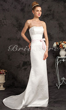 Corte Sirena/Trumpet Satén Sweep/ Brush Train Strapless Vestido de Novia with Ribbon