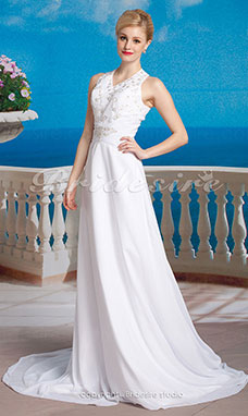 Corte Recto Gasa Vestido de Novia with Button Back y Beaded Embroidered