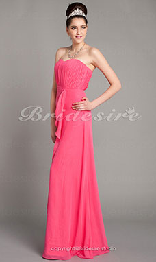 Corte Recto/ Column Hasta el Suelo Strapless Gasa Over Mading Draped Bridesmaid/ Wedding Party Vestido
