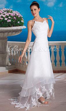 corte a organza asimtrico escote en v vestido de novia