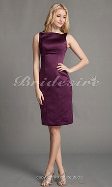 Corte Recto/ Column Satén Hasta la Rodilla Escote Barco Bridesmaid/ Homecoming/ Wedding Party Vestido