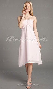 Imperio Gasa Hasta la Rodilla Tirantes Espaguetis Bridesmaid/ Wedding Party Vestido
