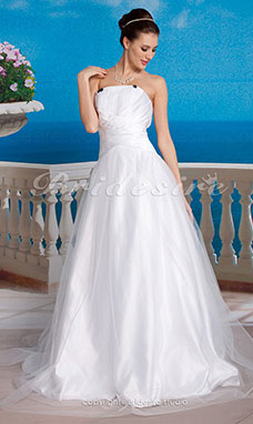 A-Line Tul Satén Vestido de Novia with Bow y Draped