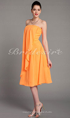 Corte Recto/ Column Gasa Over Elastic Satén Hasta la Rodilla Strapless Bridesmaid/ Wedding Party Vestido