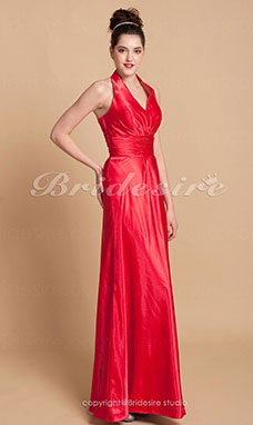 Corte Recto/ Column Charmeuse Asimétrico Escote Halter  Bridesmaid/ Wedding Party Vestido