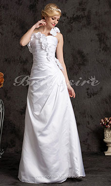 Corte A Elastic Woven Satén Sweep/ Brush Train Solo Hombro Vestido de Novia