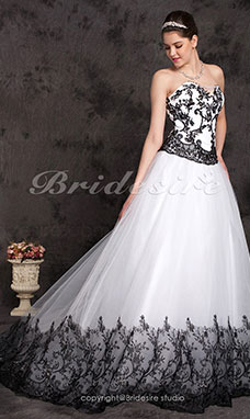 Ball Grown Encaje Cola Catedral Strapless Vestido de Novia