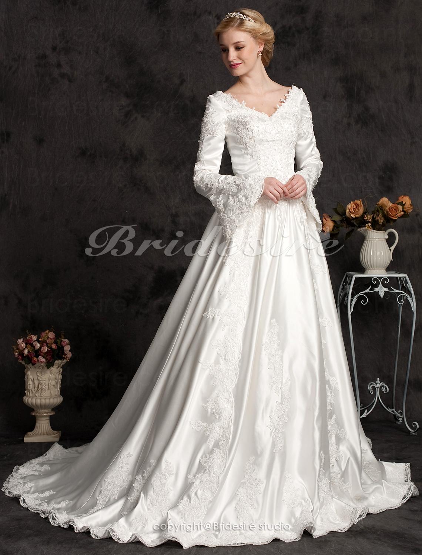 64b8a6bf Bridesire - Corte Evasé Largo Satén Sleeve Lujo Escote en V Vestido de Novia  With Beaded Apliques [066437] - €221.90 : Bridesire