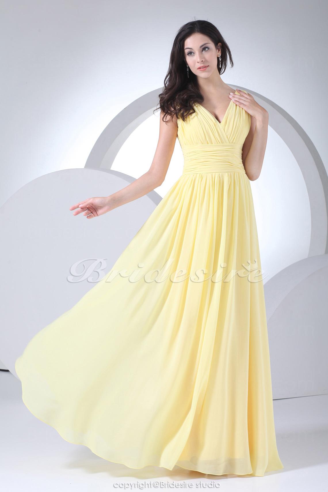 ec7abd058 Bridesire - Corte Recto Escote en V Hasta el Suelo Sin Mangas Gasa Vestido   BD4072  - €97.48   Bridesire