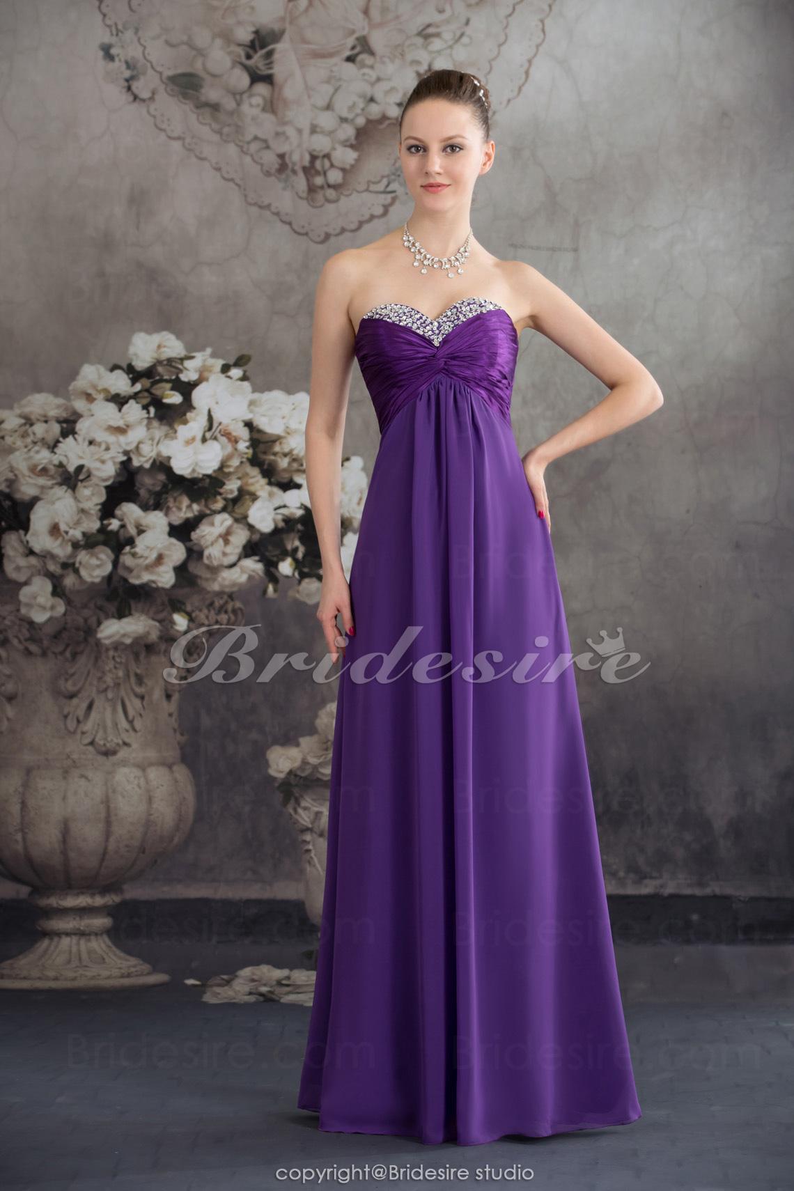 911764f7b Bridesire - Corte Recto Escote Corazón Hasta el Suelo Sin Mangas Gasa  Vestido  BD4571  - €86.34   Bridesire
