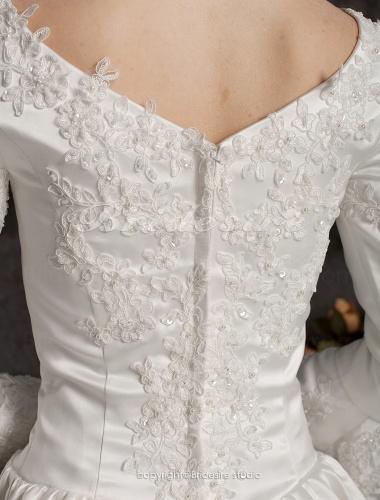 f5c2b488 Bridesire - Corte Evasé Largo Satén Sleeve Lujo Escote en V Vestido ...