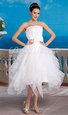 Corte Evasé Organza Asimétrico Strapless With Removable Cola Catedral