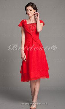 c0c1080b5 Corte A Gasa Hasta la Tibia Escote Cuadrado Vestido de madre de la novia