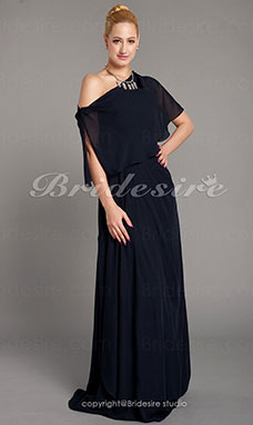 Corte Recto Gasa Hasta el Suelo Strapless Mother Of The Bride Vestido With A Wrap