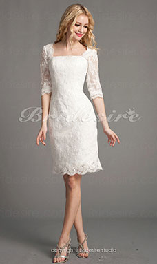 906a3a831 Corte Recto Encaje Corto Mini Escote Cuadrado Vestido de Novia