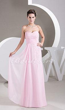 810753cc8 Corte Recto Escote Corazón Hasta el Suelo Sin Mangas Gasa Vestido