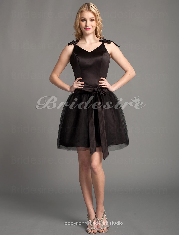 524970503 Bridesire - Corte A Satén Y Tul Escote en V Vestido de dama de honor   214953  - €78.91   Bridesire