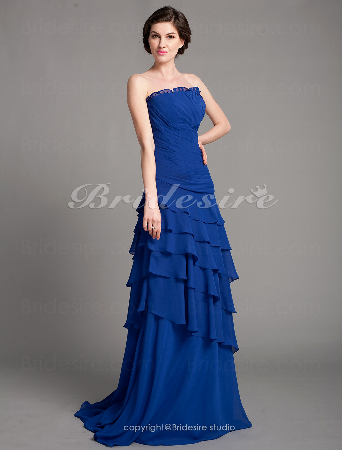Corte A Gasa Sweep Brush Train Strapless Mother Of The Bride Vestido de fiesta