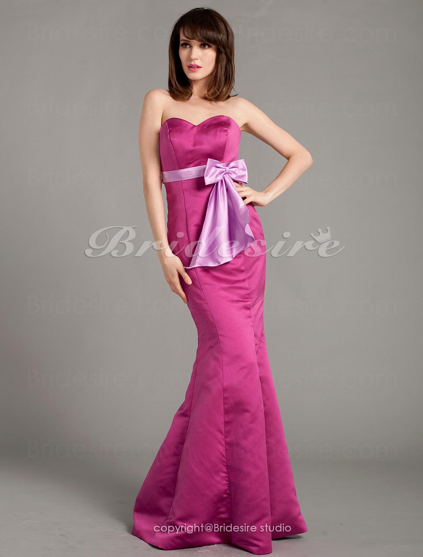 ec300f1185 Bridesire - Corte Sirena Satén Hasta el Suelo Escote Corazón Vestido de dama  de honor With Lazos  311874  - €111.41   Bridesire
