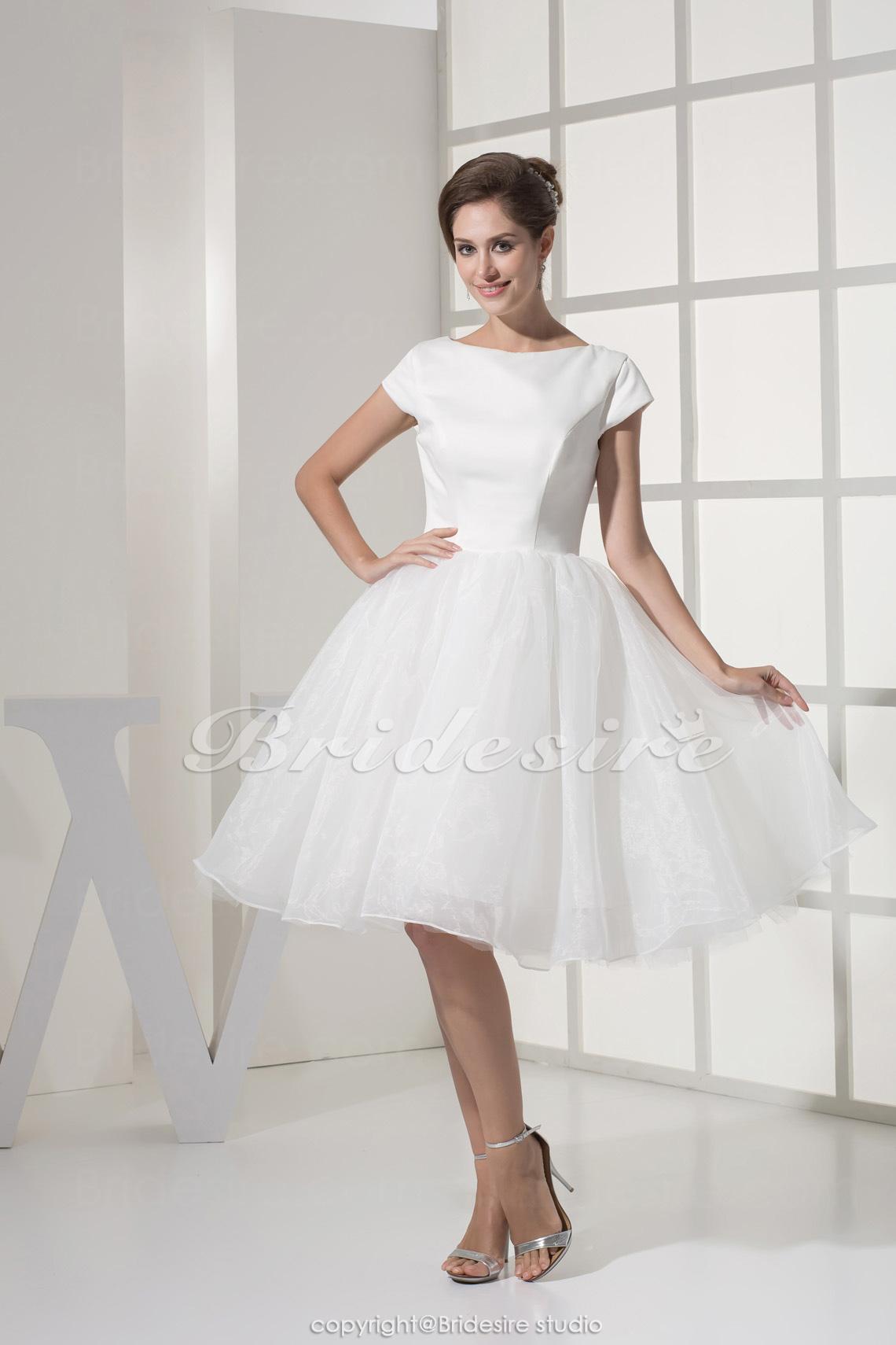 726724eb8 Bridesire - Corte Princesa Escote A la Base Hasta la Rodilla Manga Corta  Organza Tafetán Vestido [BD4374] - €78.91 : Bridesire