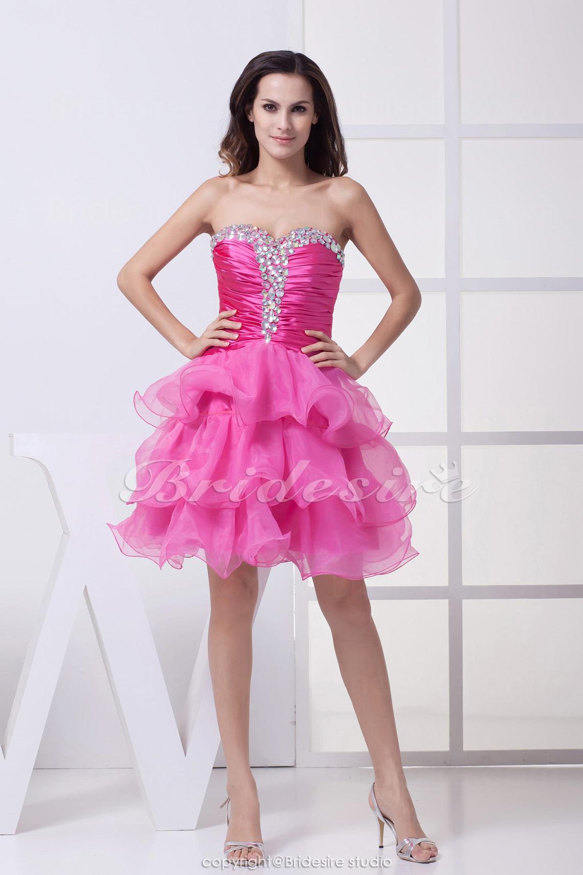 b8dd3fc19 Bridesire - Corte Princesa Escote Corazón Corto Mini Sin Mangas Tramo Satén  Organza Vestido  BD4384  - €78.91   Bridesire