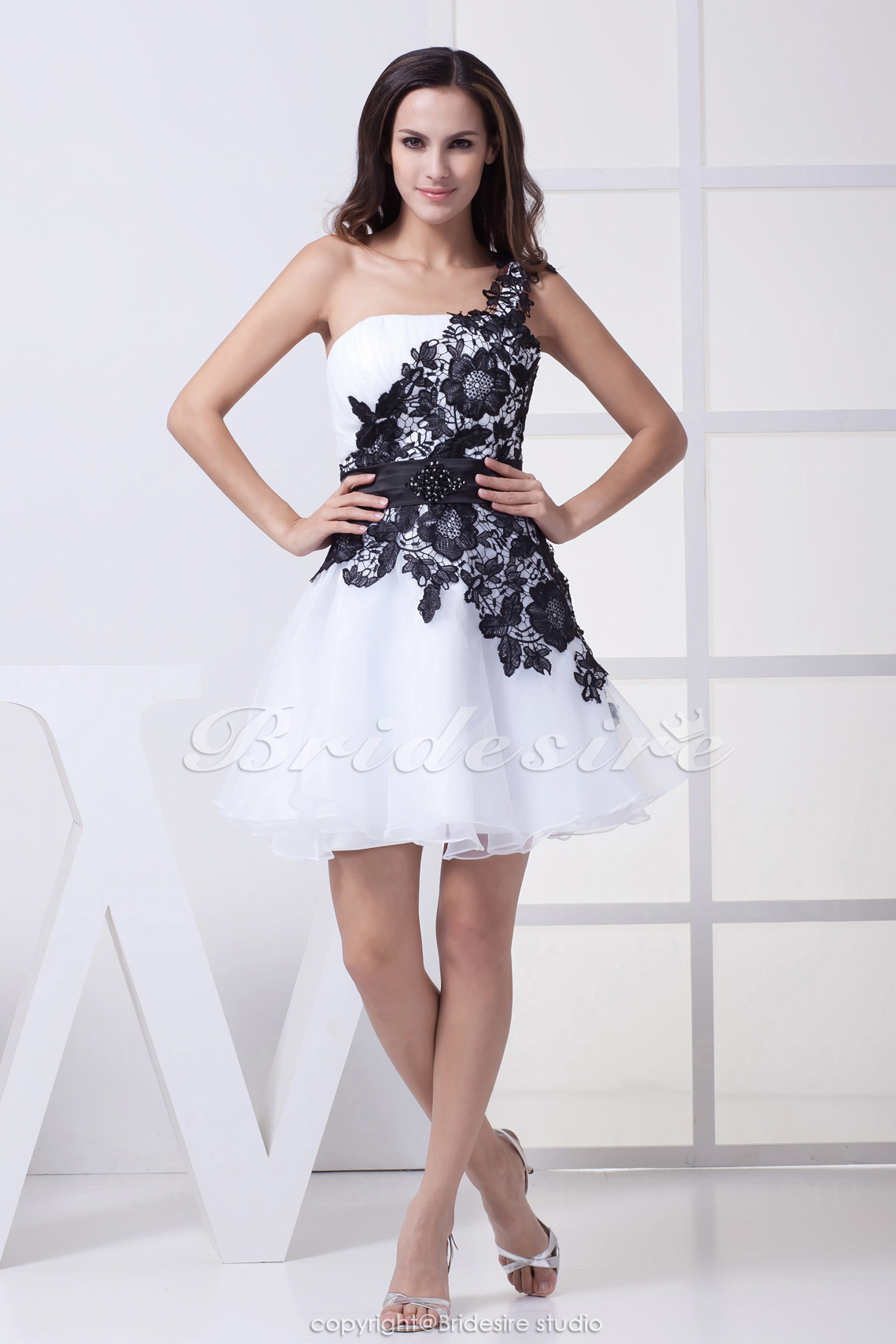 A-line One Shoulder Short/Mini Sleeveless Satin Lace Organza Dre