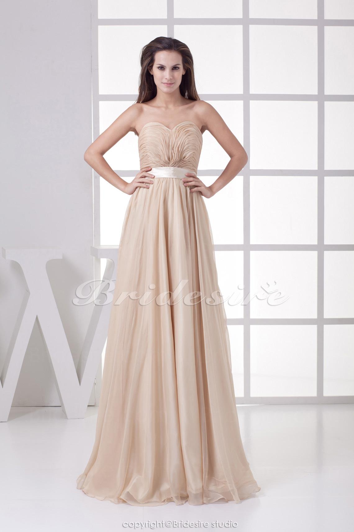 77c3f4505 Bridesire - Corte Recto Escote Corazón Hasta el Suelo Sin Mangas Gasa  Vestido  BD4506  - €114.20   Bridesire