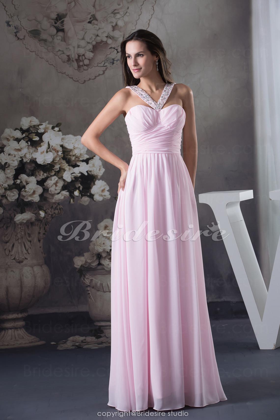 155cf05a0 Bridesire - Corte A Escote Halter Hasta el Suelo Sin Mangas Gasa Vestido   BD4587  - €95.63   Bridesire