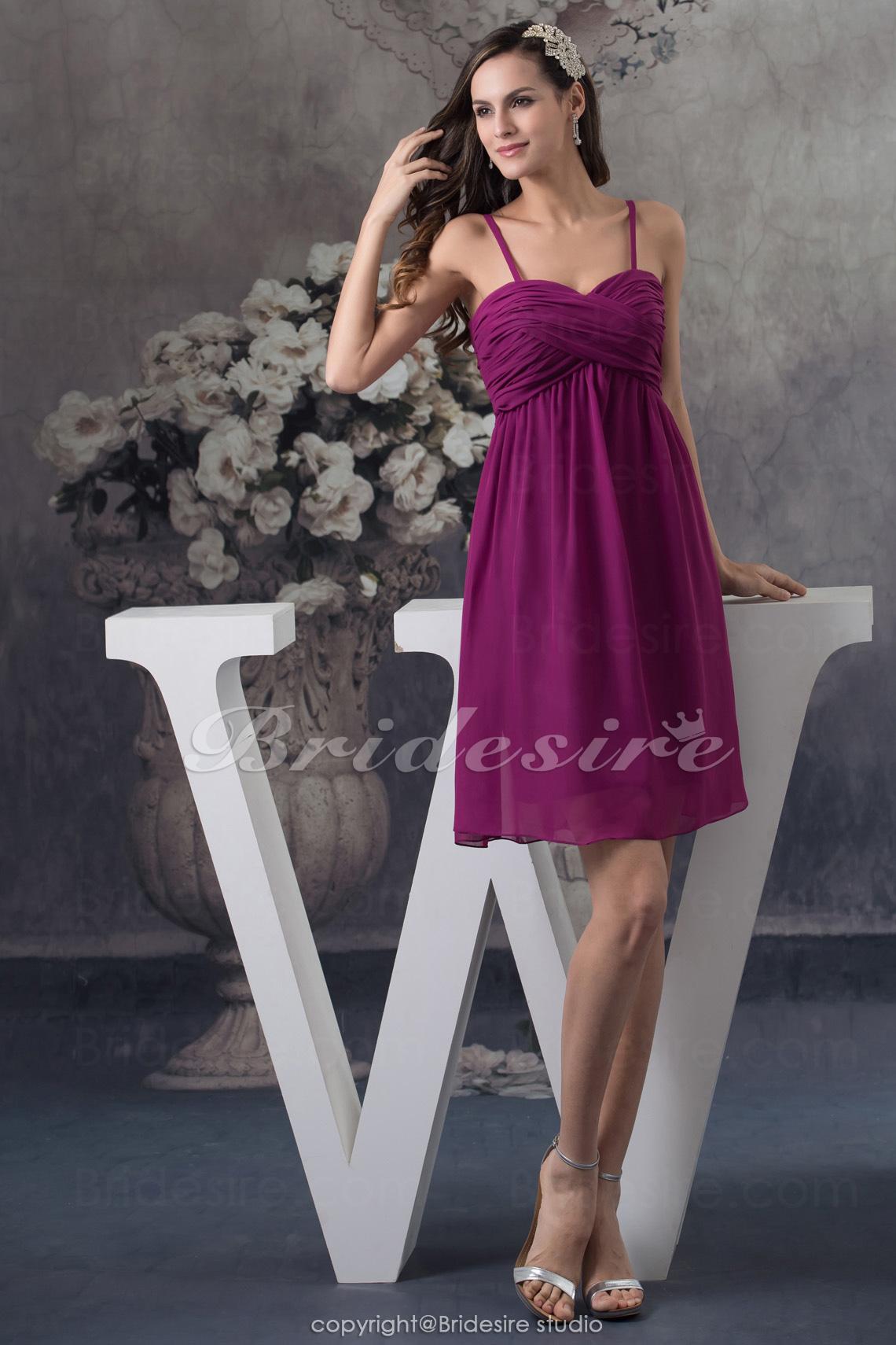 ae7ec2984 Bridesire - Corte A Tirantes Espaguetis Hasta la Rodilla Sin Mangas Gasa  Vestido  BD4717  - €76.13   Bridesire