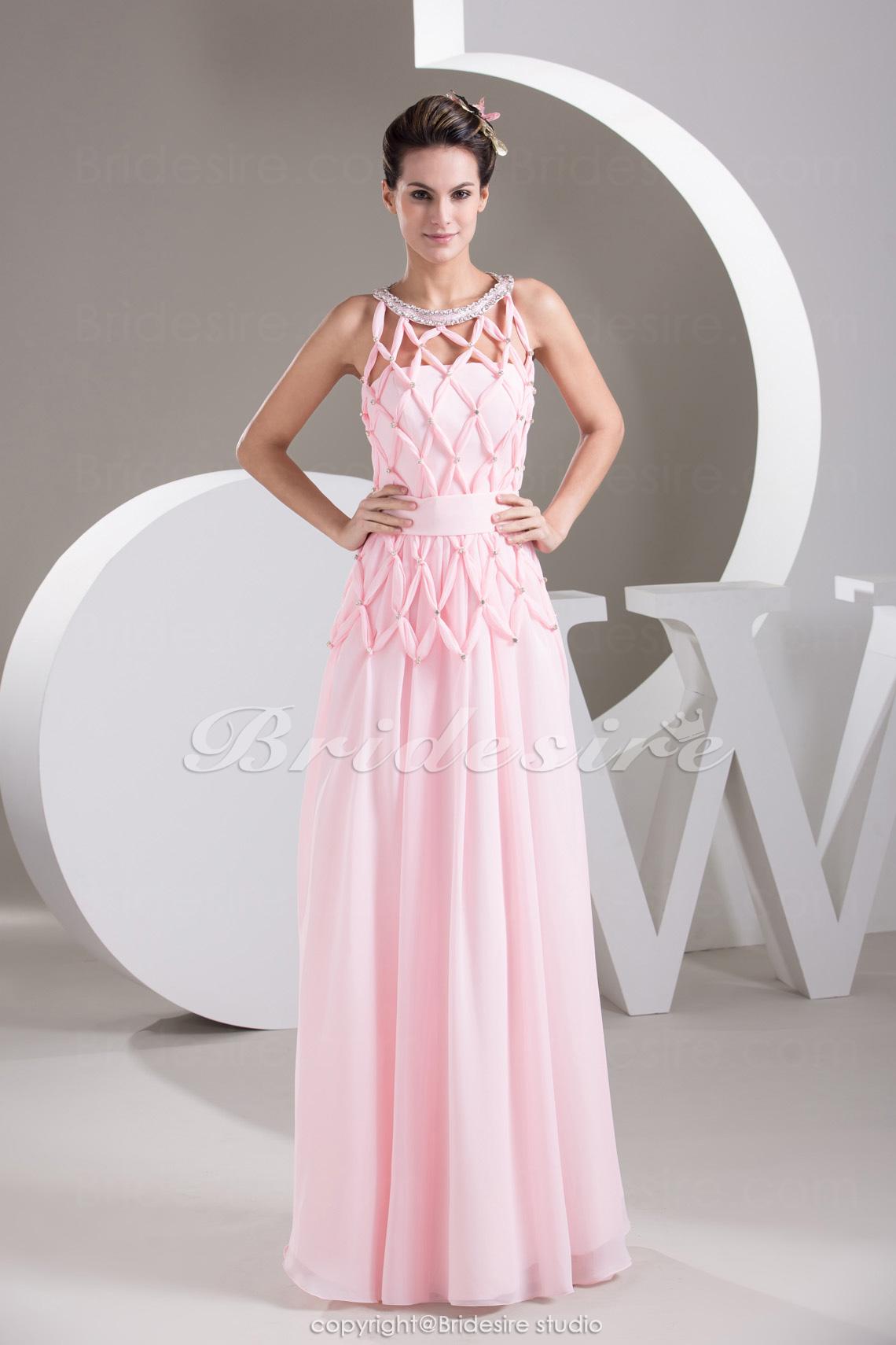dc0018450 Bridesire - Corte Recto Escote A la Base Hasta el Suelo Sin Mangas Gasa  Vestido  BD4838  - €110.48   Bridesire