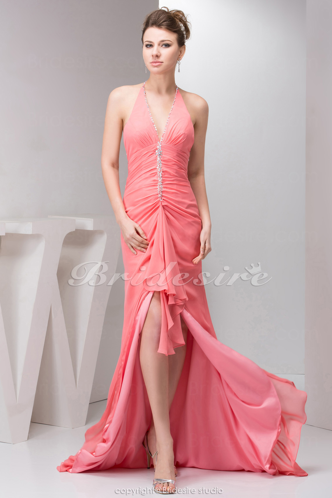 Bridesire - Corte A Asimétrico Gasa Strapless Vestido de dama de ...