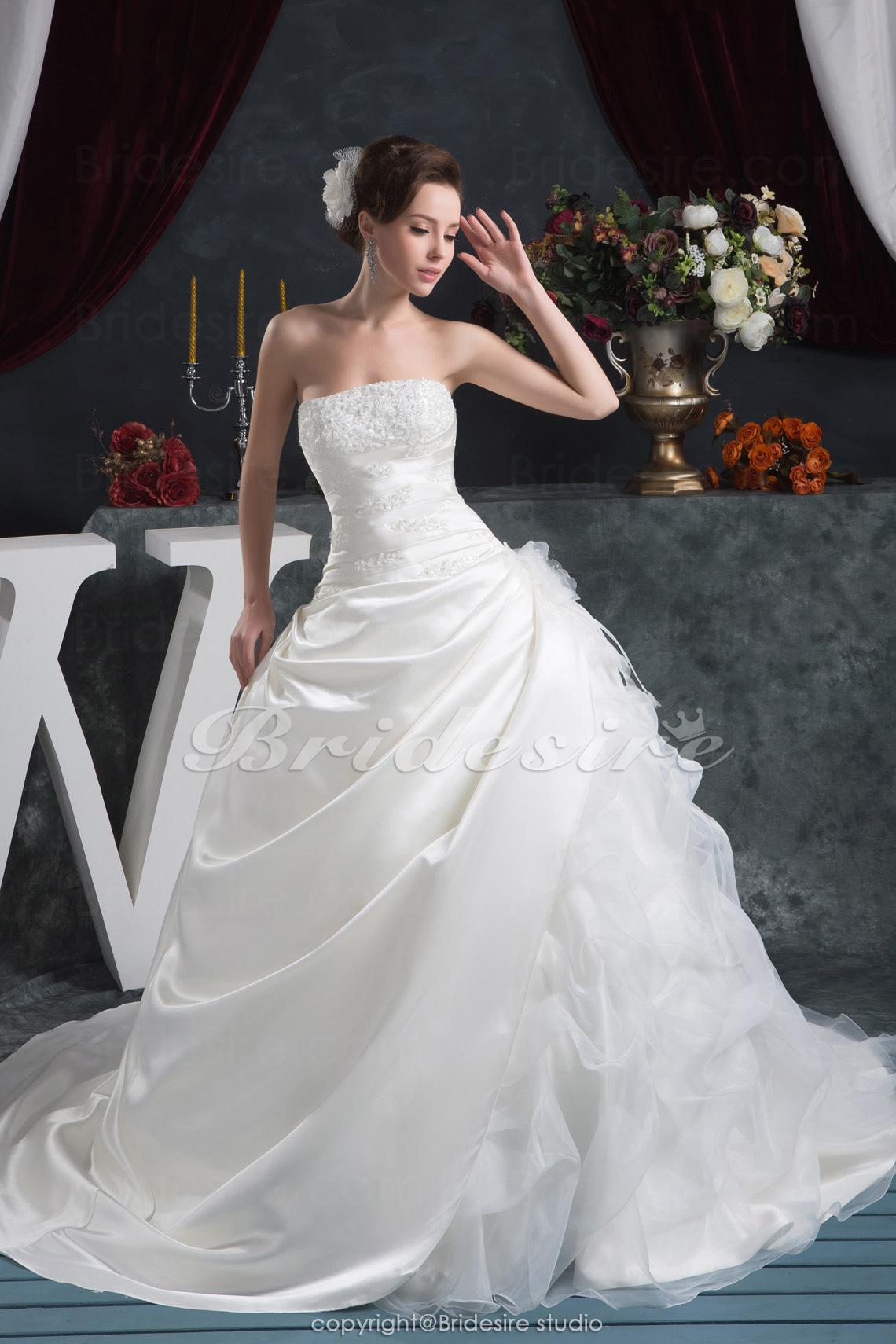 52371e145 Bridesire - Corte Evasé Strapless Hasta el Suelo Cola Gorrailla Sin Mangas  Satén Vestido de Novia  BDH1668  - €187.55   Bridesire