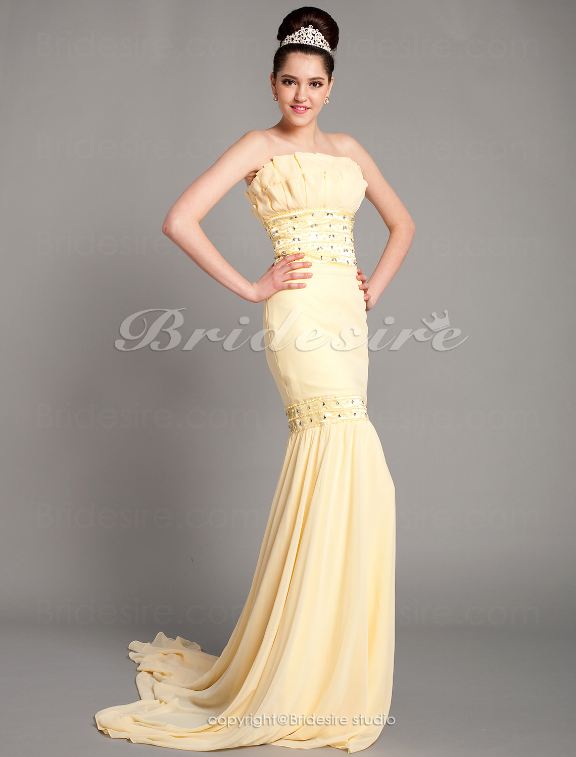 Trumpet/ Corte Sirena Gasa Sweep/ Brush Train Strapless Vestido
