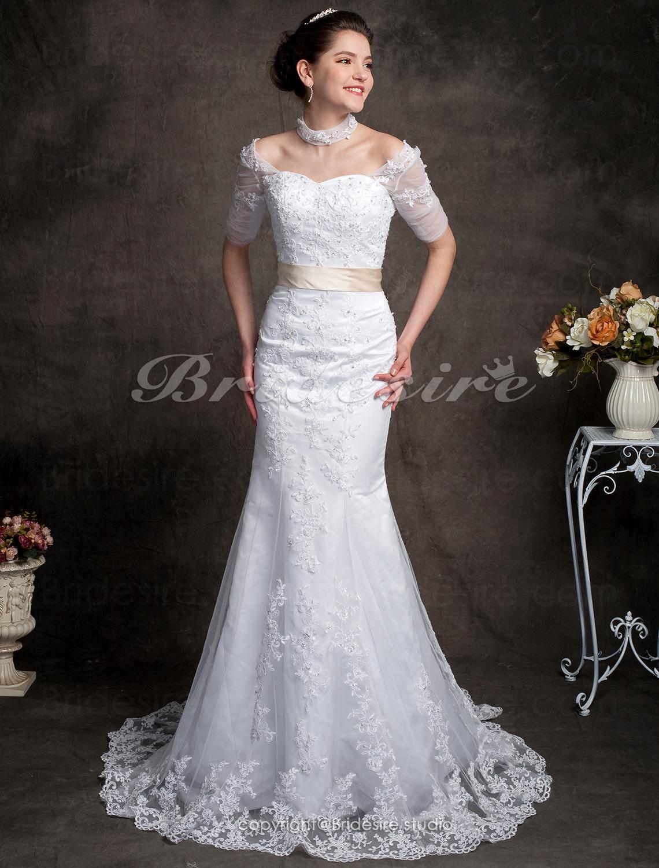 4d55ea1cd6c Bridesire - Trumpet / Corte Sirena Encaje Cola Gorrailla Hombros Caídos  [071418] - €181.05 : Bridesire