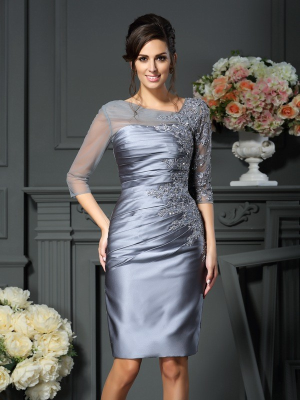 Sheath/Column Jewel 3/4 Length Sleeve elastic silk-like satin Mo