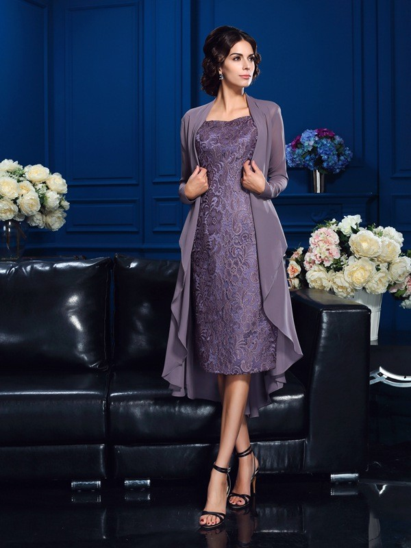 Sheath/Column Sweetheart Long Sleeve Chiffon Mother of the Bride