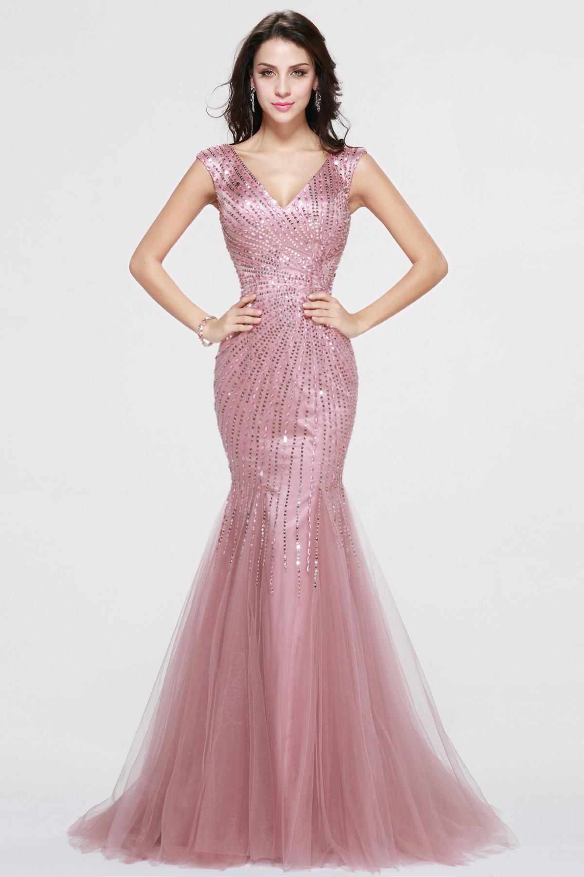 54ad5fa53d7f Corte Sirena Escote en V Barrer / cepillo tren Con lentejuelas Vestido de  fiesta